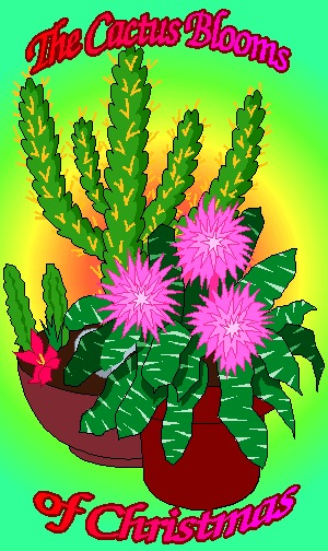 Cactus blooming in purple and white